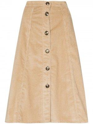 Вельветовая юбка миди на пуговицах Etro. Цвет: нейтральные цвета