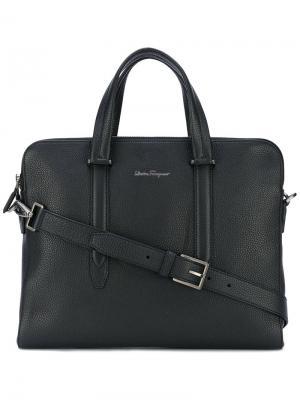 Классический портфель Salvatore Ferragamo. Цвет: черный