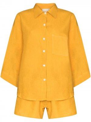 Пижамный комплект Deiji Studios. Цвет: желтый