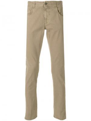 Вельветовые брюки узкого кроя Boglioli. Цвет: коричневый