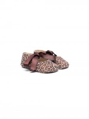 Туфли с леопардовым принтом Gallucci Kids. Цвет: коричневый