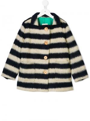 Однобортное пальто в полоску Bobo Choses. Цвет: нейтральные цвета
