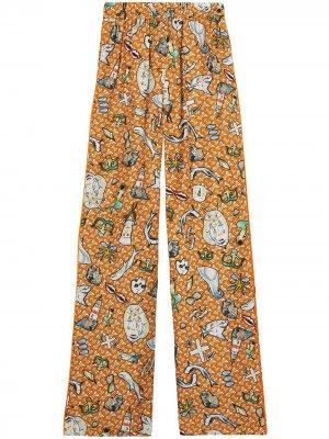 Прямые брюки с графичным принтом Burberry. Цвет: оранжевый