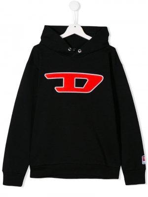 Худи вышитым логотипом Diesel Kids. Цвет: черный