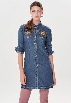 Платье джинсовое Only. Цвет: синий