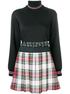 Платье с юбкой в клетку Antonio Marras. Цвет: черный