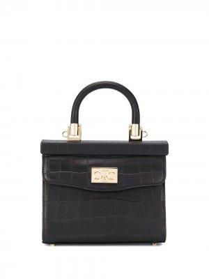 Маленькая сумка-тоут Paris с тиснением под кожу крокодила Rodo. Цвет: черный