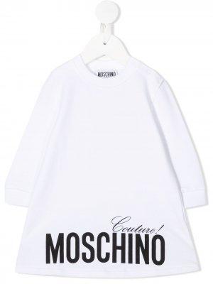 Платье-джемпер с логотипом Moschino Kids. Цвет: белый