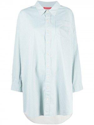 Платье-рубашка в тонкую полоску с длинными рукавами Denimist. Цвет: синий
