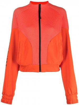 Двухцветная куртка на молнии adidas. Цвет: оранжевый