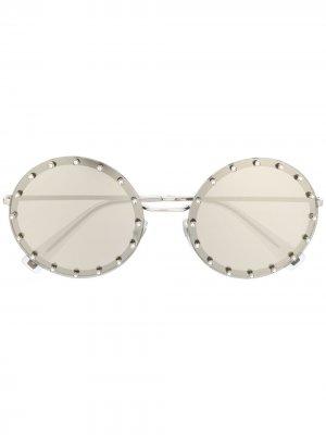 Солнцезащитные очки Valentino Garavani в овальной оправе Eyewear. Цвет: серебристый