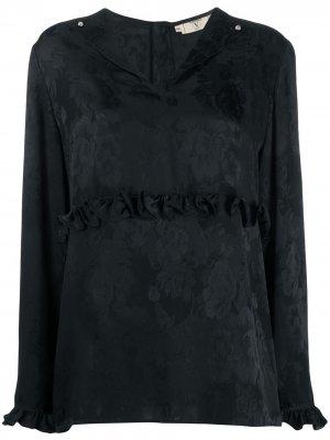 Блузка 1980-х годов с оборками и узором Valentino Pre-Owned. Цвет: черный