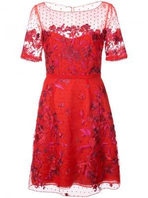 Платье мини с вышивкой Marchesa Notte. Цвет: красный