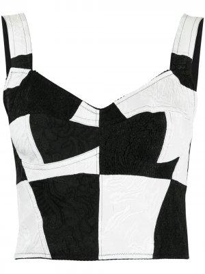 Жаккардовый топ-бюстье Damier в технике пэчворк Dolce & Gabbana. Цвет: белый