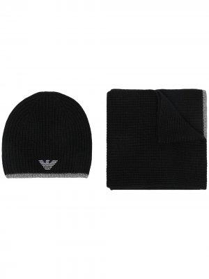 Комплект из шапки бини и шарфа в рубчик Emporio Armani. Цвет: черный