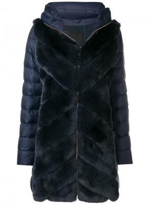 Пуховое пальто с панелями кроличьим мехом Liska. Цвет: синий