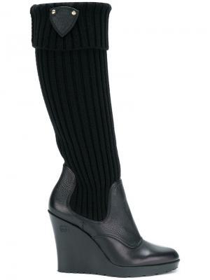 Высокие сапоги на платформе Gucci Vintage. Цвет: черный