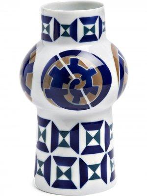 Ваза с геометричным узором (190 мм) Sargadelos. Цвет: белый
