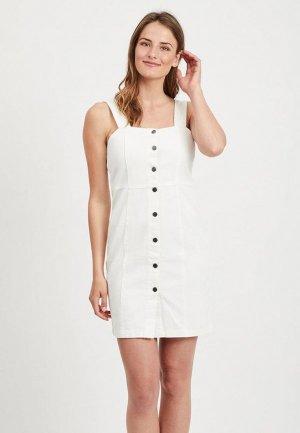 Платье джинсовое Vila. Цвет: белый