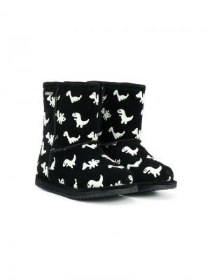 Ботинки с принтом динозавров Emu Kids. Цвет: черный