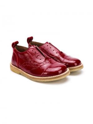 Туфли с брогированием без шнуровки Pèpè. Цвет: красный