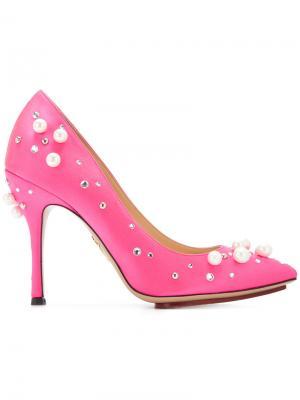 Декорированные туфли-лодочки Bacall Charlotte Olympia. Цвет: розовый