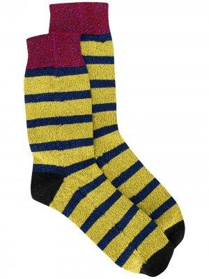 Носки в полоску с блестками La Doublej. Цвет: желтый