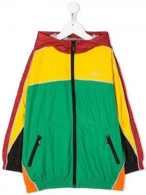 Куртка в стиле колор-блок с капюшоном Molo. Цвет: зеленый