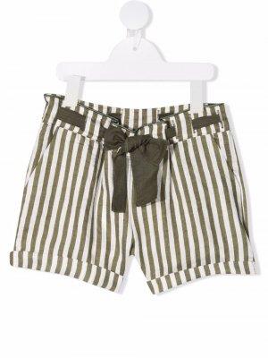 Полосатые шорты с поясом Miss Grant Kids. Цвет: белый