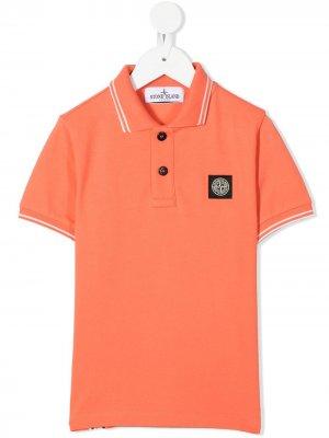 Рубашка поло из ткани пике Stone Island Junior. Цвет: оранжевый