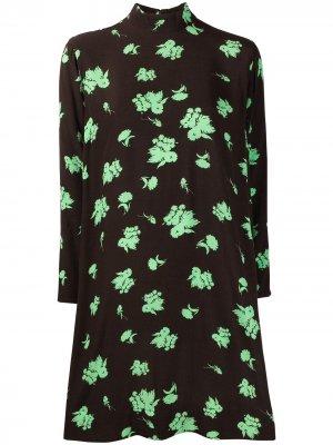Floral print crepe mini dress GANNI. Цвет: коричневый