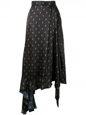Юбка асимметричного кроя с монограммой Preen By Thornton Bregazzi. Цвет: черный