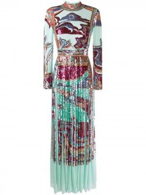 Вечернее платье с пайетками Emilio Pucci. Цвет: синий