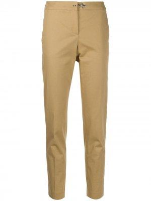 Укороченные зауженные брюки с завышенной талией Fay. Цвет: коричневый