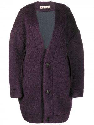 Фактурное пальто Marni. Цвет: фиолетовый