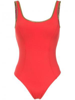 Gold-tone trimming swimsuit Amir Slama. Цвет: красный