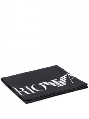 Полотенце с логотипом Ea7 Emporio Armani. Цвет: черный
