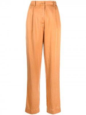 Атласные брюки с завышенной талией Forte. Цвет: оранжевый