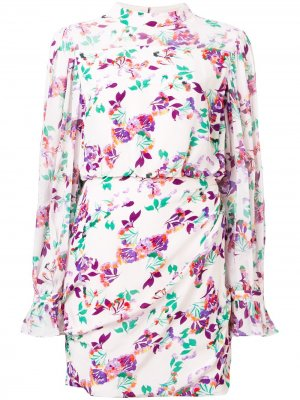 Платье мини с цветочным принтом Saloni. Цвет: нейтральные цвета