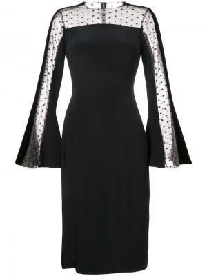 Платье с вставкой из тюля Monique Lhuillier. Цвет: чёрный