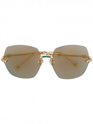 Oversized sunglasses Elie Saab. Цвет: золотистый