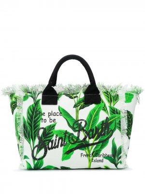 Пляжная сумка с логотипом Mc2 Saint Barth. Цвет: белый