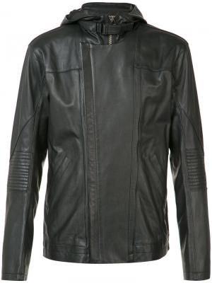 Кожаная куртка с капюшоном Helmut Lang. Цвет: черный