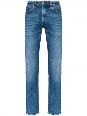 Прямые джинсы Delaware 3 средней посадки BOSS. Цвет: синий