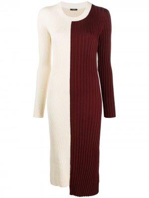 Платье миди Diane в стиле колор-блок Joseph. Цвет: нейтральные цвета