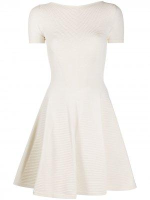 Короткое платье с отделкой в рубчик Dsquared2. Цвет: белый