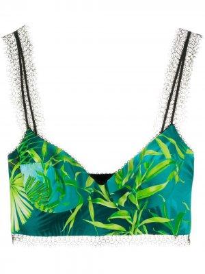 Топ-бралетт с принтом Versace. Цвет: зеленый