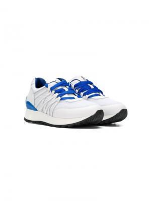 Кроссовки на шнуровке Stefano Ricci Kids. Цвет: белый