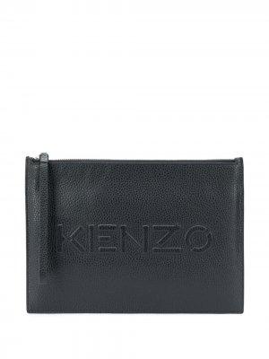 Клатч с тисненым логотипом Kenzo. Цвет: черный