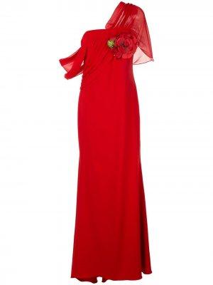Платье асимметричного кроя с драпировкой Badgley Mischka. Цвет: красный